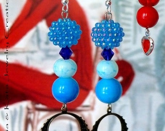 Ball of seed beads earrings-in Blue or Red or Purple
