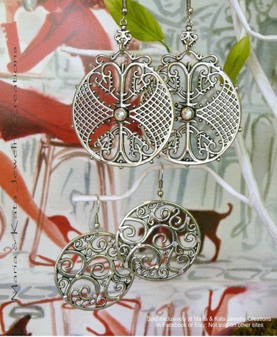 SET OF 2 pairs of Antiqued Metal earrings