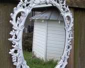 """Vintage Large Syroco White Oval Framed Mirror 29"""" by 19"""""""