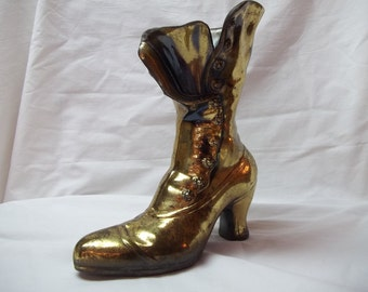 Vintage Brass Victorian Ladies Button Up Shoe Boot Vase or Bookend