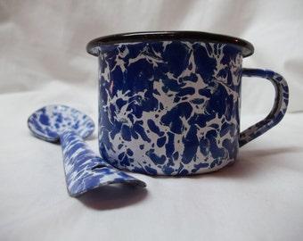 Vintage Graniteware Splatterware Child's Enamel Cup and Spoon