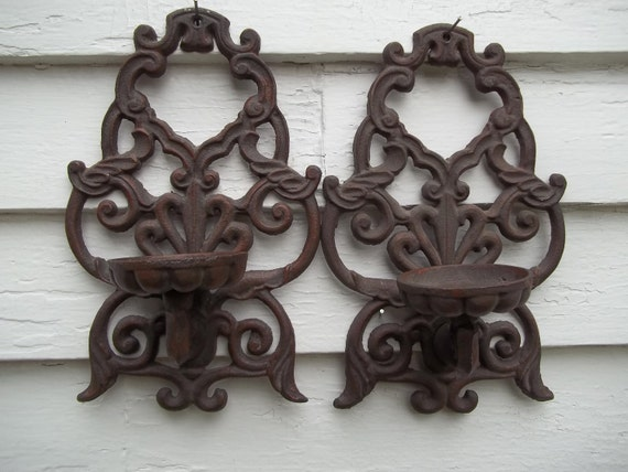 Vintage Pair of Iron Candle Holders Sconces