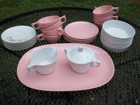 Vintage Texas Ware Melmac Melamine Pink and White Dishes 31 Pieces