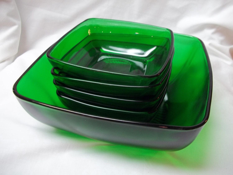 Vintage Forest Green Glass Salad Fruit Bowl 5 Piece Set