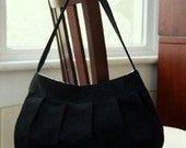 Black Corduroy Purse - Large Buttercup Bag in Black Corduroy with Black and White Polka Dot Lining