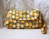 Gray & Mustard Yellow Clutch/Wristlet- Amy Butler Martini