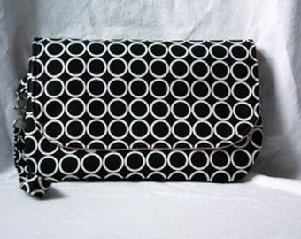 Diaper Clutch with Changing Pad - Black and White with Pink