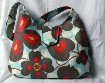 Hobo Bag - Floral Purse - Amy Butler Morning Glory Hobo Purse