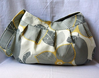 Pleated Bag: Mustard Yellow and Gray Buttercup Bag - Amy Butler Optic Blossom Purse