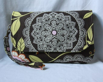 Diaper Clutch with Changing Pad - Brown and Green Amy Butler Diaper Bag