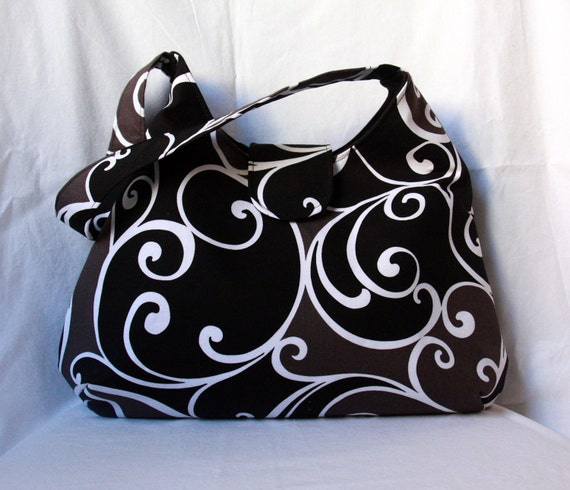 Black and Gray Hobo Bag - Slouch Purse