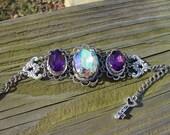 50% off Antique silver filigree cuff AB crystal and purple swarovski crystal bracelet