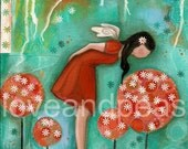 Mixed media art - Stop and smell the flowers - print