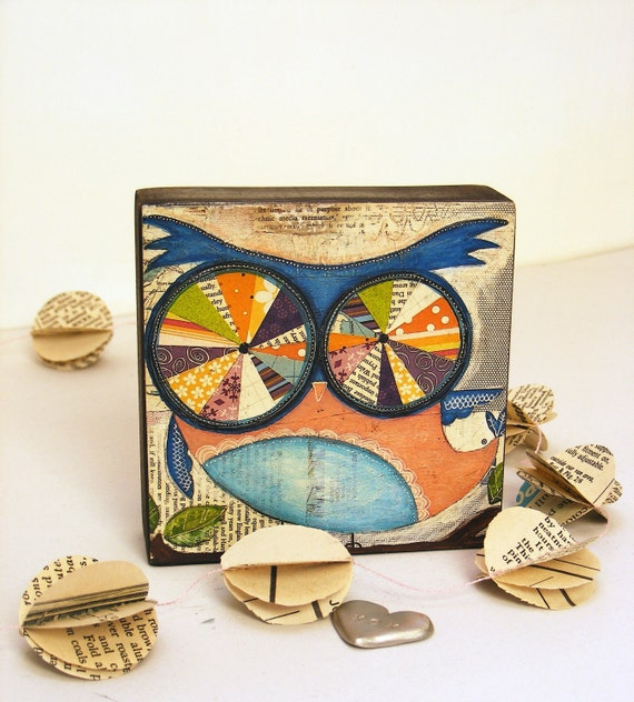 mini print on block - owl -  with love affirmation - mixed media