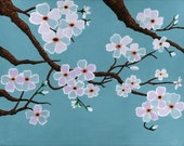 Teal Blue Cherry Blossom Tree Poster Print, teal blue sakura painting, unique teal blue living room sakura wall decor