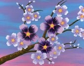 Mother's Day Gift Cherry Blossom Poster Print, purple cherry blossom acrylic painting, purple and pink sakura painting unique wall decor