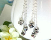 Black crystal glass rondelle sterling silver drop earrings, sterling silver chain drop earrings, funeral tassle earrings, jet black vampire
