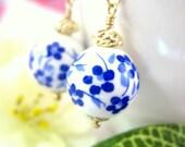 Chinese blue cherry blossom ceramic gold dangle earrings, blue sakura ceramic drop earrings, blue cherry blossom dangle earrings