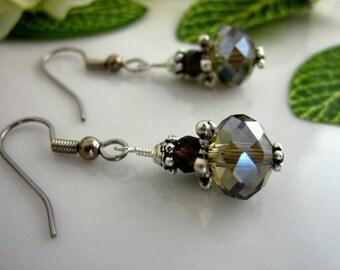 Sparkly smokey topaz Swarovski earrings, Victorian gray drop earrings, gray drop crystal dangle earrings
