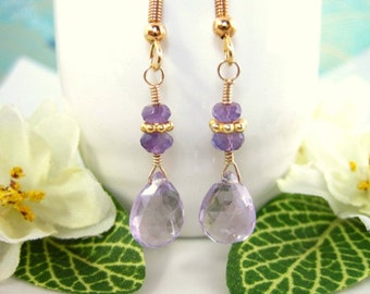 Pink Amethyst Drop Gold Dangle Earrings - Lavender Crystal Dangle Gold Victorian Earrings - Pink Amethyst Dangle Mother's Day Earrings