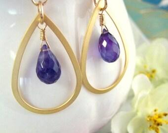 Gold hoop purple amethyst earrings