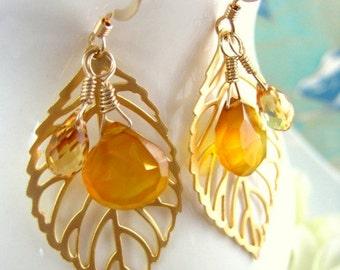 Gold leaf earrings with yellow chalcedony drops, gold fall leaf dangle earrings, coachella gold autumn leaf mustard yellow aspen colorado