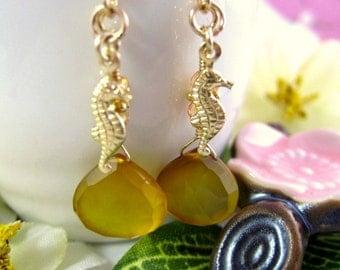 Yellow chalcedony golden sea horse dangle earrings, yellow seahorse beach earrings, gold sea horse mustard chalcedony earrings