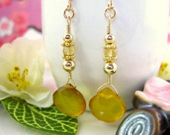 Yellow chalcedony gold drop earrings, mustard yellow gold filled earrings, yellow drop gold earrings, mustard yellow wedding bridesmaid gift