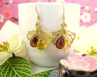 Fall aspen gold citrine leaf dangle earrings, gold fall citrine brown sapphire earrings, Pocahantas leaf citrine dangle earrings