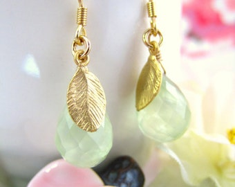 Green prenite pear drop earrings, sage green earrings, lime green bohemian earrings, birthday gift botanical green drop earrings