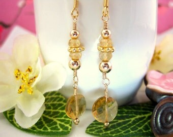 Gold Citrine Coin Drop Earrings - Citrine Gold Filled Coin Dangle Earrings - November Birthstone Citrine Dangle EArrings
