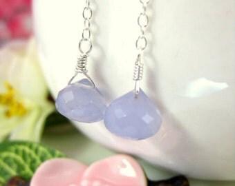 Lavender chalcedony drop earrings, purple drop earring, lavender fields dangle sterling silver earrings, purple dangle drop earrings
