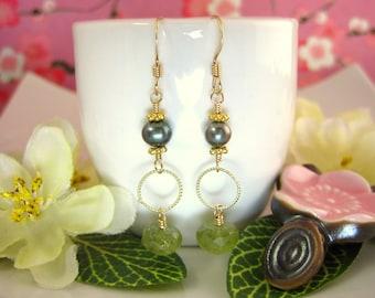 Green Garnet Rondelle Green Pearl Gold Hoop Earrings, green pearl garnet drop earrings, green gold hoop gold filled boho chic earrings