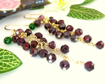 Red garnet grape cluster emerald green quartz dangle earrings, Napa Valley grape high quality cluster earrings, Autumn Fall grape earrings