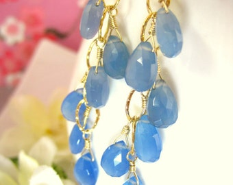 Blue chalcedony cluster chain hoop earrings, blue chalcedony chandelier gold filled earrings, blue cluster Christmas gift