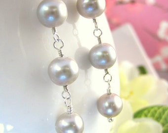 Silver pearl sterling silver triple drop dangle earrings, silver pearl bridesmaid earrings, 50 shades of gray earrings