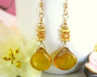Yellow chalcedony Victorian gold drop earrings, mustard yellow drop earrings, Asian mustard yellow bohemian chic dangle earrings