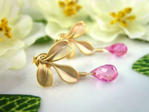 Gold leaf pink quartz drop earrings, Valentines Day pink leaf earrings, hot pink quartz botanical nature inspired leaf earrings