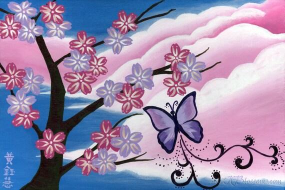 Dreamy Clouds Sakura Tree Acrylic Poster Print - Pink and Purple Butterfly Sakura Painting - Pink and Purple Cherry Blossom Acrylic Painting