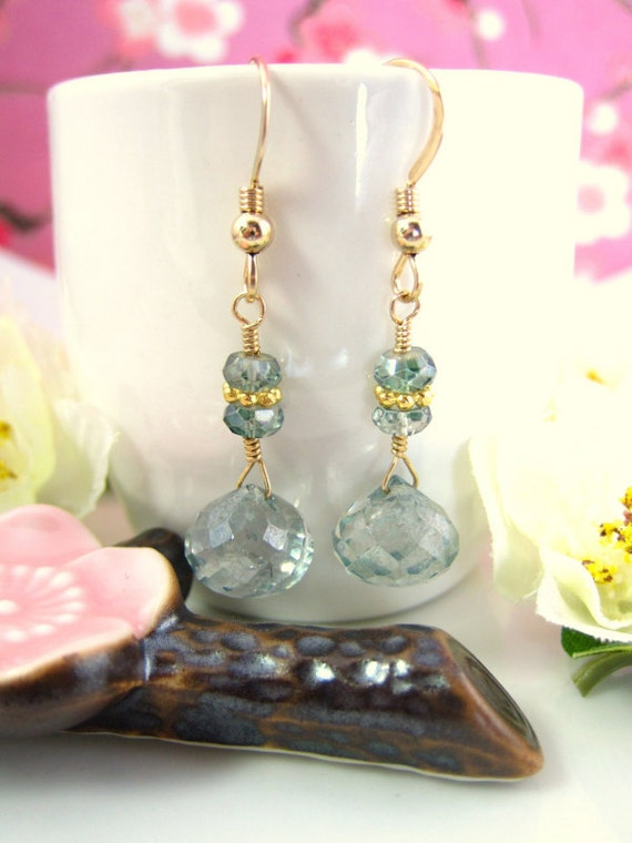 Teal green quartz gold dangle earrings