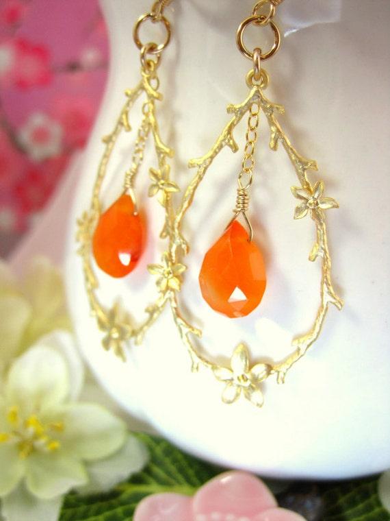 Carnelian drop floral branch hoop earrings