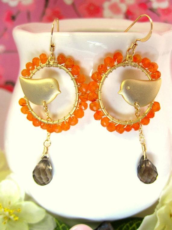 Carnelian Gold Love Bird Smokey Quartz Drop Hoop Earrings - Orange and Brown Gold Dove Earrings - Orange Gold Dove Earrings