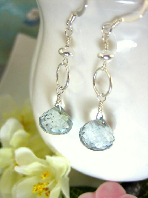 Teal green mystic quartz silver hoop earrings