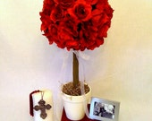 Red Rose Topiary for Centerpieces, Weddings, Parties, Room Decor