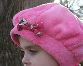 Hot Pink Fuzzy Fleece Beret lined with Happy Monkey Cotton - ready to ship