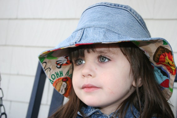 Upcycled Denim Blue Jeans lined with Zoo Animal Cotton Bucket Hat - ready to ship
