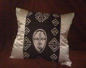 Black and White African Decorative Pillow