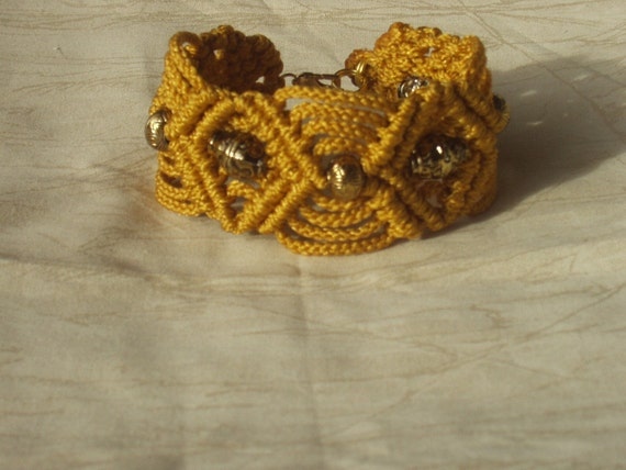 Macrame Bracelet Gold with Bronze Accent