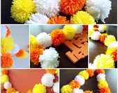Candy Corn Yarn Pom Pom Garland for Party Decor, Banners, Buntings and Photo Props