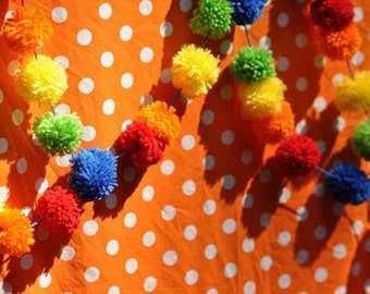 Pom Pom Garland | Yarn Pompom| Bright and Cheery Banner | Rainbow Bunting | Red | Orange | Yellow | Lime | Blue | Carnival Party | Circus